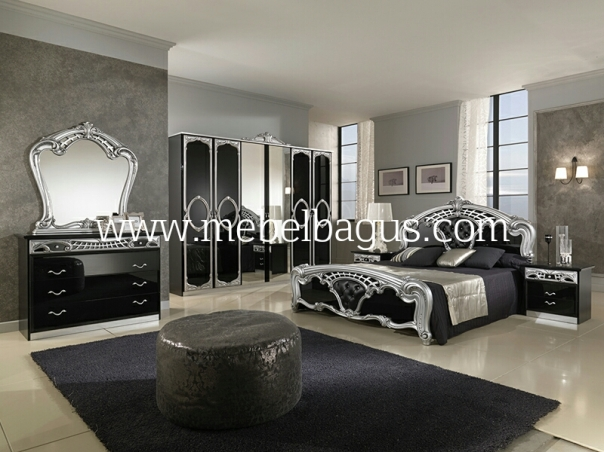 Set Tempat Tidur Mirrored Black